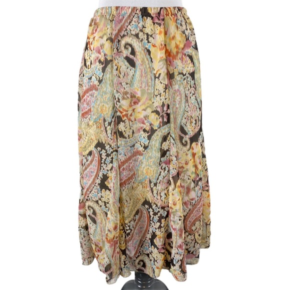 Christopher & Banks Chiffon Skirt Pastel Paisley L